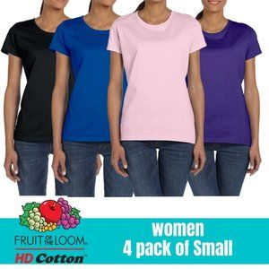 Fruit of the Loom Women Plain T Shirt Small 4 Pack